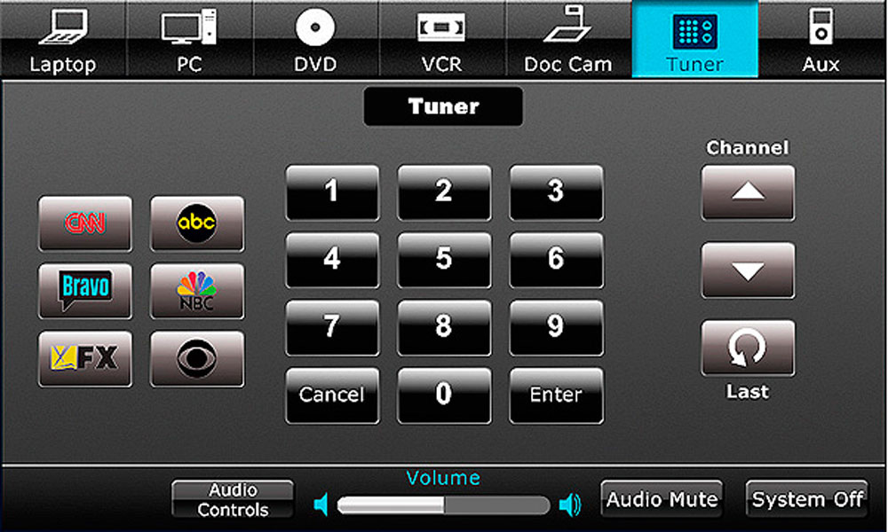 A black tuner screen with various buttons such as with keypads, channel, and volume.