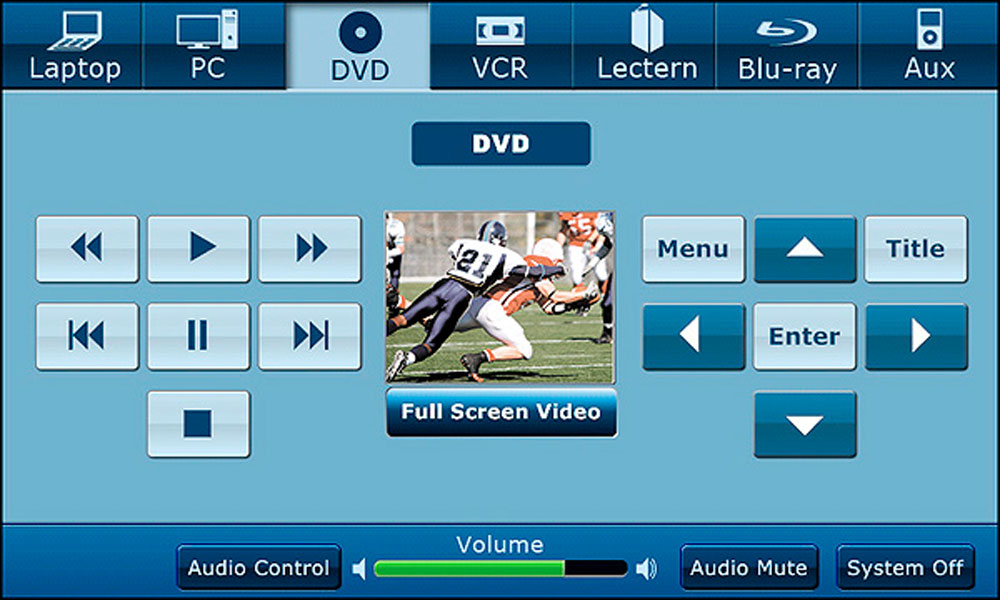 Vortex template DVD screen with menu, enter, and title buttons.