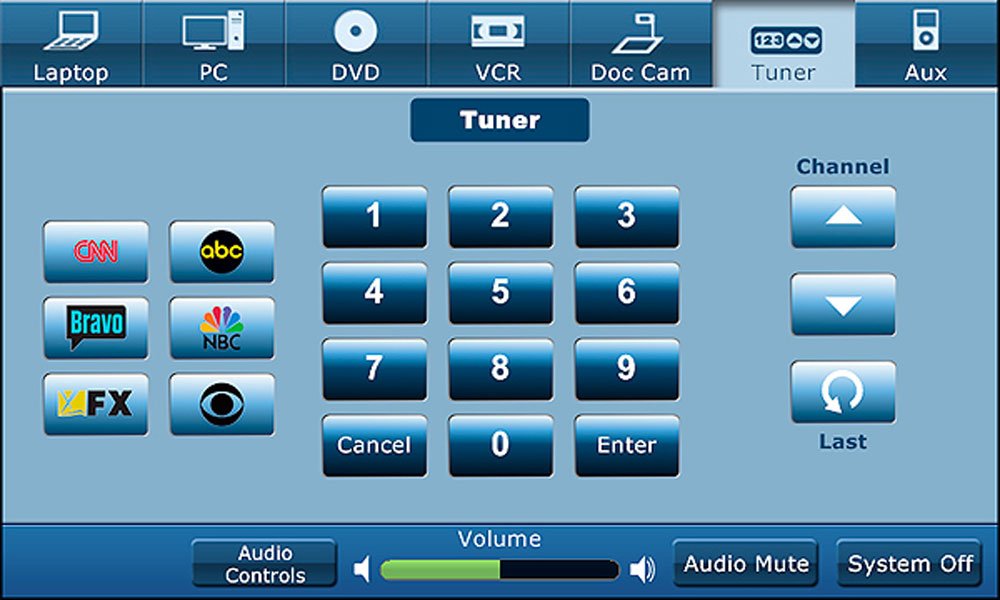 A light blue tuner screen with various buttons such as keybads, channel, and volume.