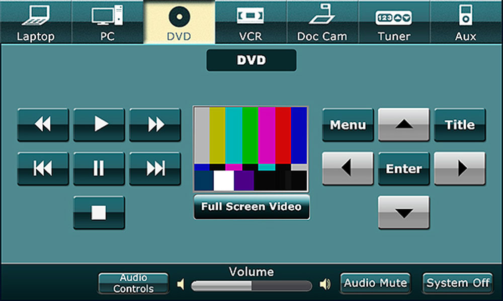 Vortex resource green template DVD screen with menu, enter, and title buttons.