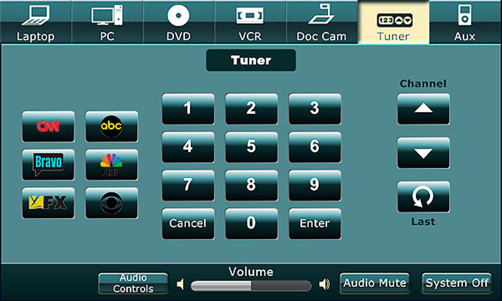 A green tuner screen with various buttons such as with keypads, channel, and volume.