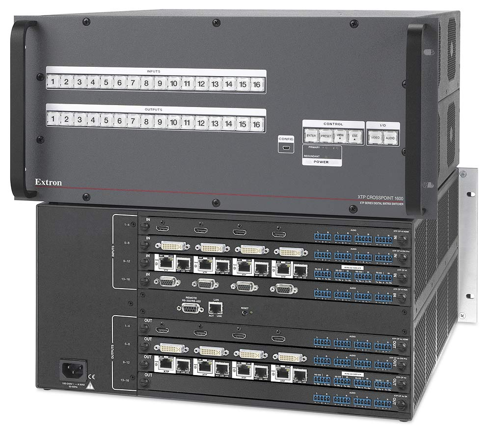 The Extron XTP CrossPoint 1600 provides flexible, reliable digital and analog video switching and distribution between local and remote endpoints.