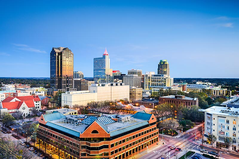 Raleigh, downtown city skyline.