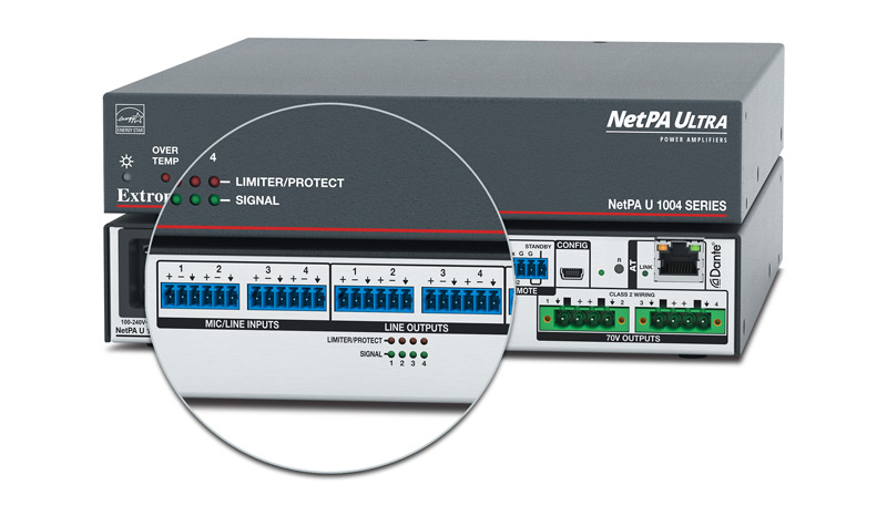 Close up of the line inputs and outputs on the rear panel of the NetPA Ultra.